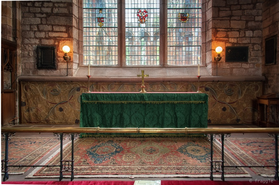 Altar with background cloth by William Morris