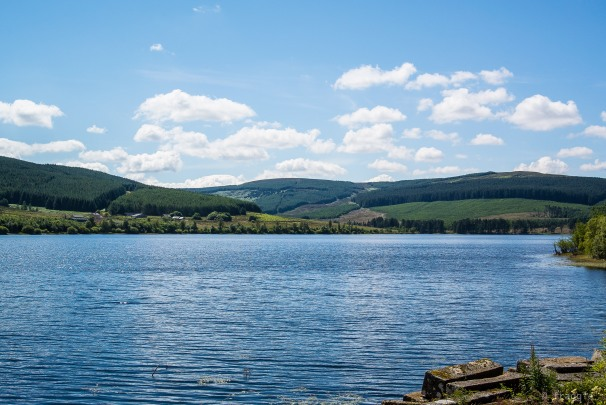 Catcleugh Reservoir on the A68 towards Scotland