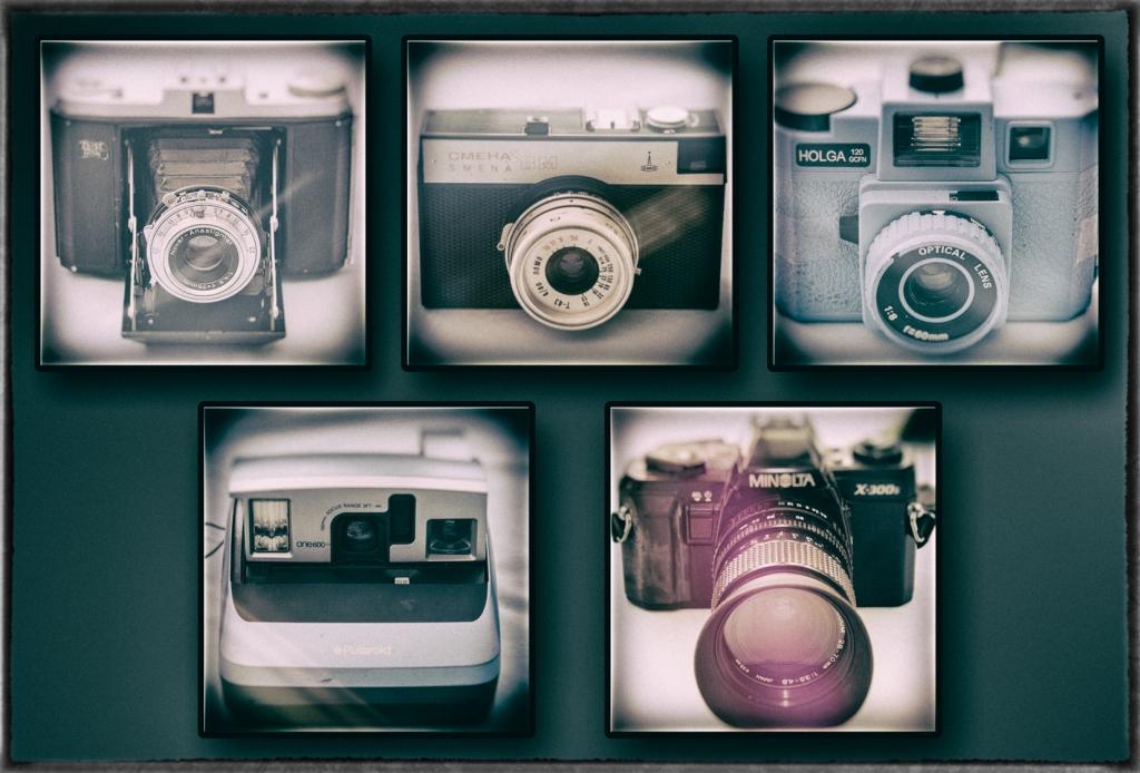 Five film cameras.