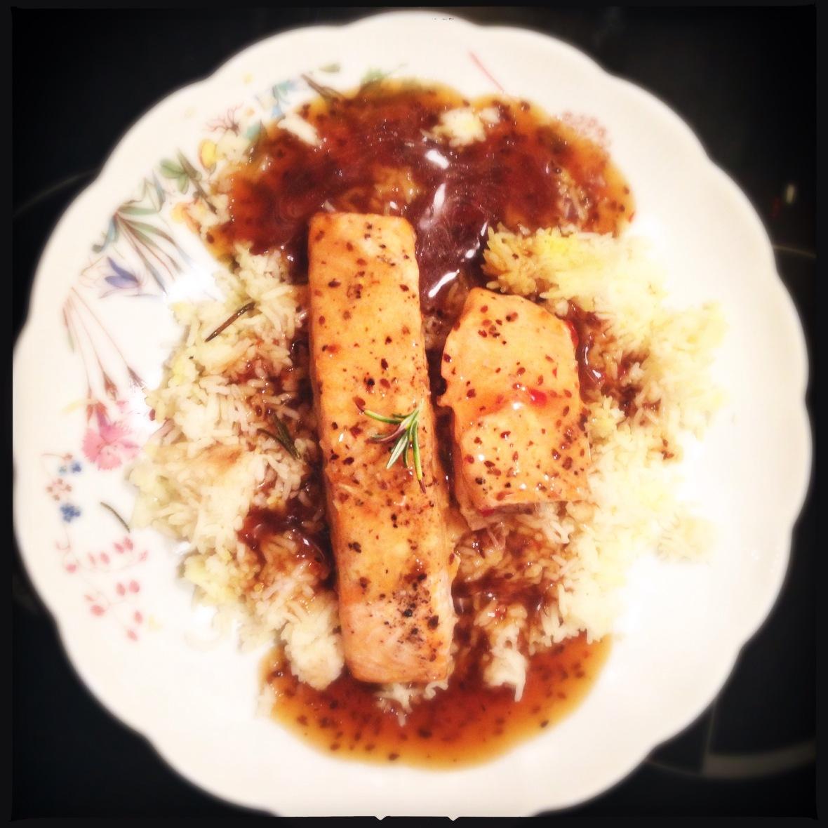 Salmon in soy ginger garlic sauce