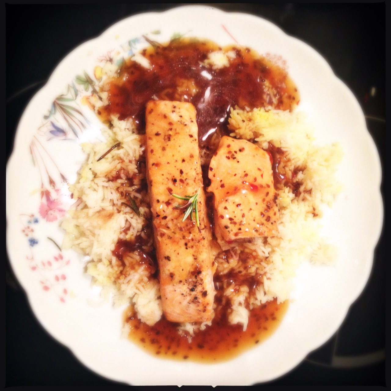 Salmon in soy ginger garlic sauce
