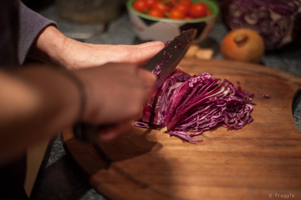 making coleslaw