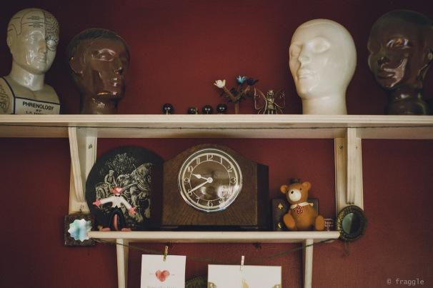 Shelf of heads