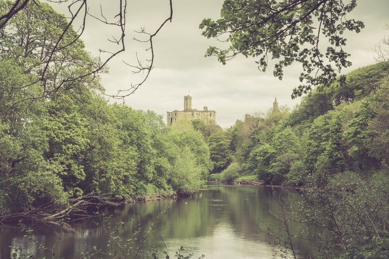 View of the castle on the way back to Warkworth