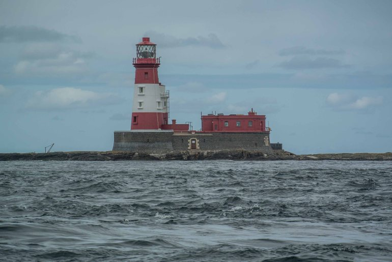Longstone lighthouse in the Farnes from where Grace Darling and her father launched their rescue.