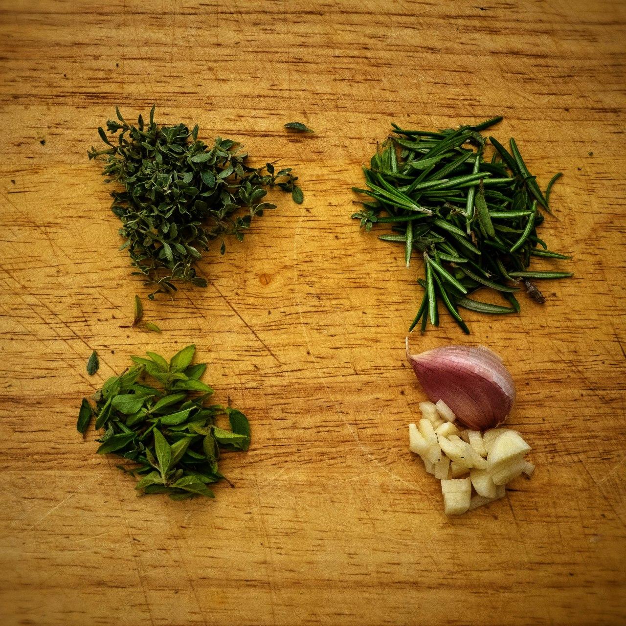 herbs & garlic
