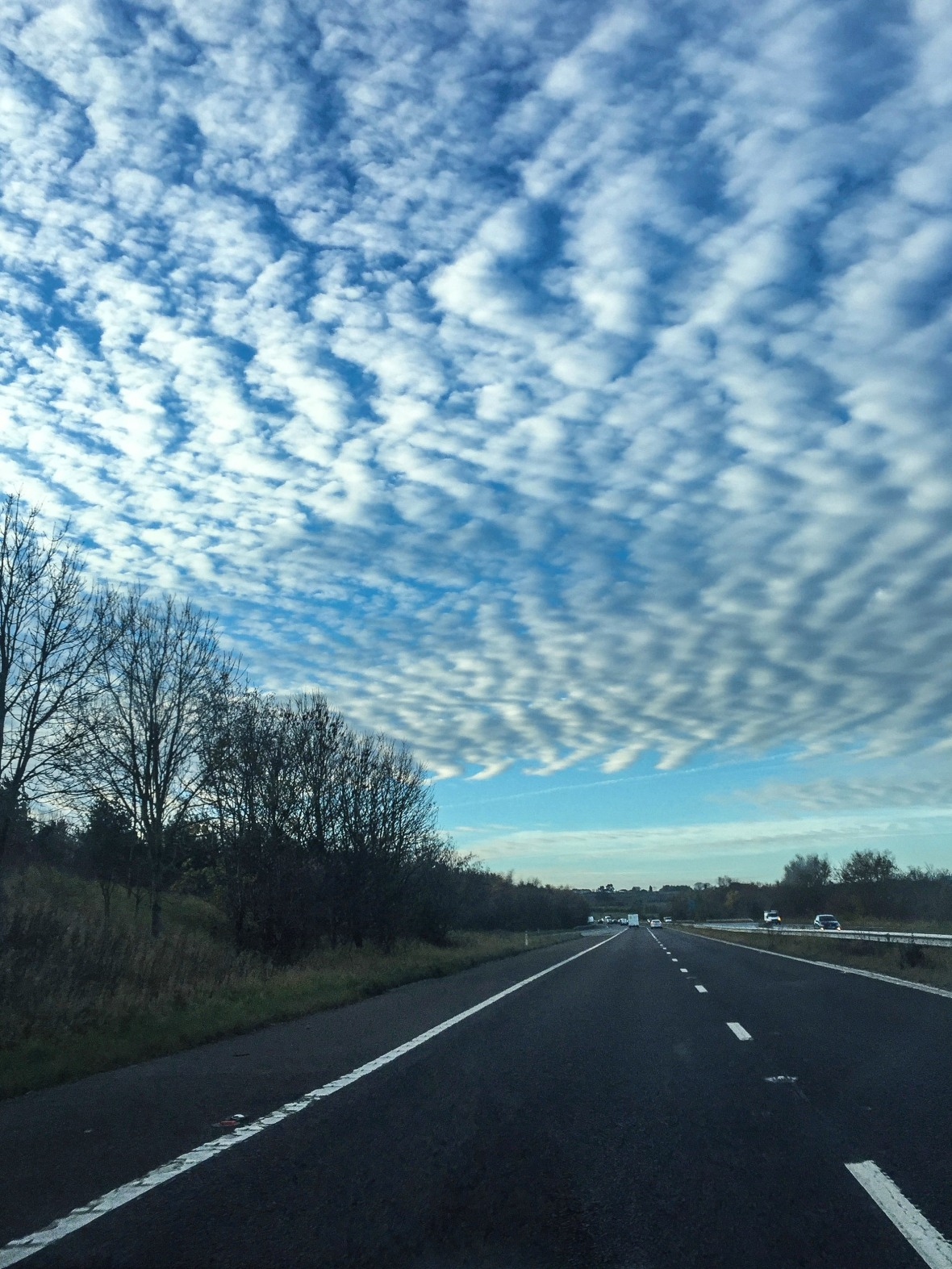 Setting off on the A1 under a zigzag sky